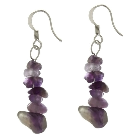 DANGLE CHIP AMETHYST EARRINGS