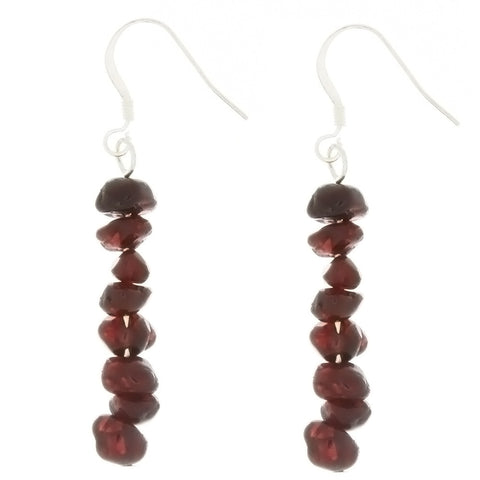 DANGLE CHIP GARNET EARRINGS