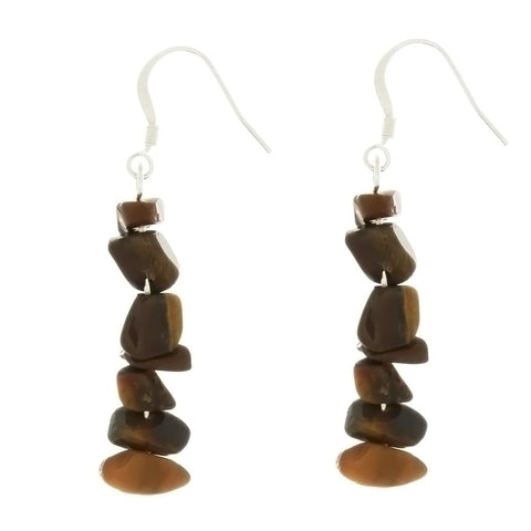 DANGLE CHIP TIGER'S EYE EARRINGS