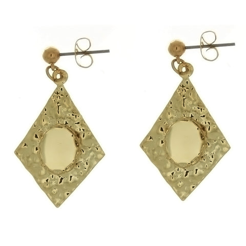 DROP CABOCHON DIAMOND 8 X 10 MM EARRINGS