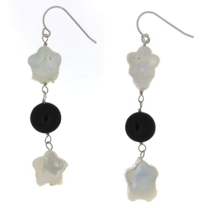 DANGLE FRESHWATER PEARL & BLACK ONYX SS EARRINGS