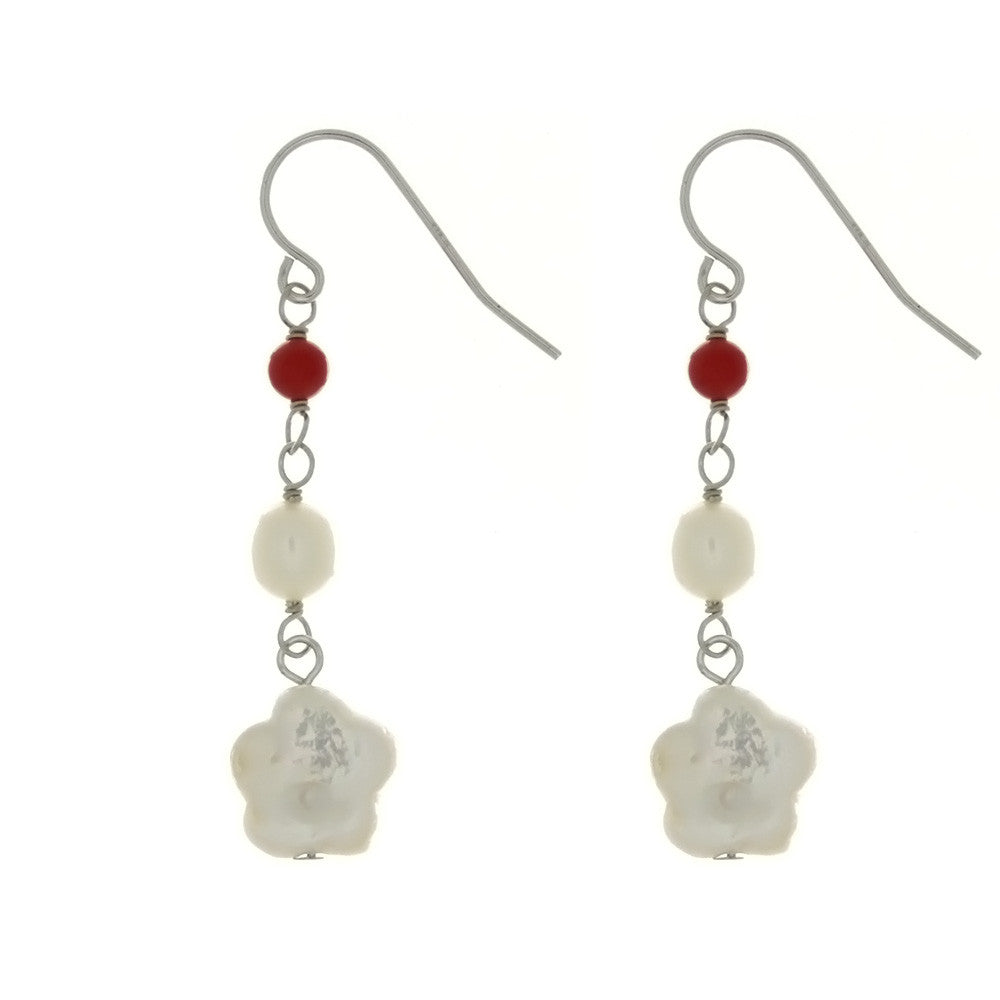 DANGLE FRESHWATER PEARL & RED CORAL SS EARRINGS