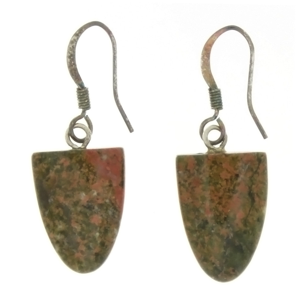 DROP UNAKITE TONGUE EARRINGS