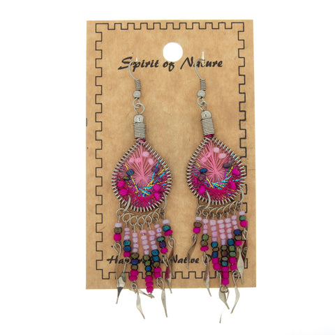 DANGLE THREAD WEAVE & SEED BEAD DREAMCATCHER PINK EARRINGS