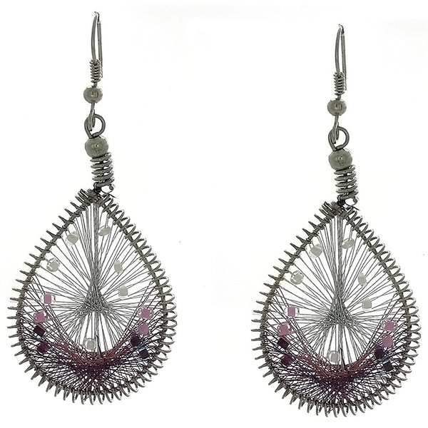 DANGLE THREAD WEAVE & SEED BEAD TEARDROP PURPLE EARRINGS