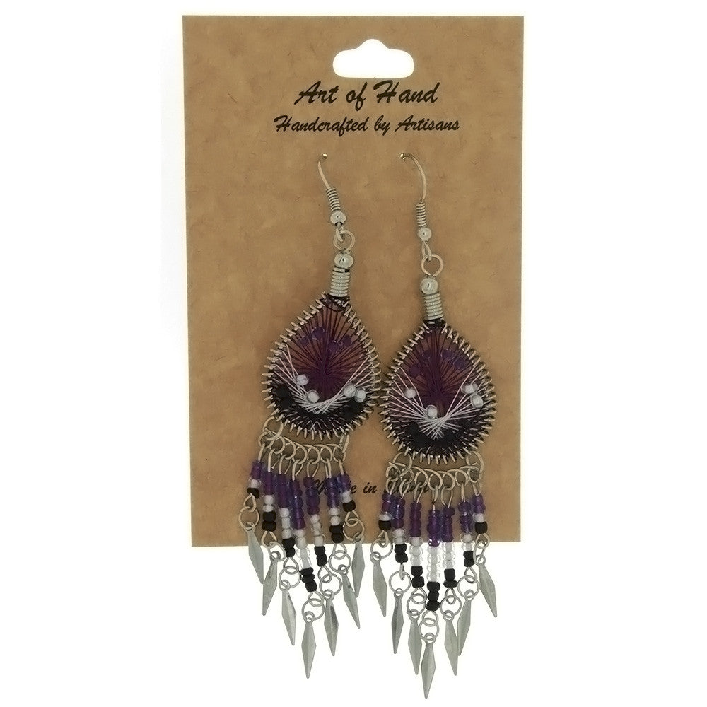 DANGLE THREAD WEAVE & SEED BEAD DREAMCATCHER PURPLE EARRINGS
