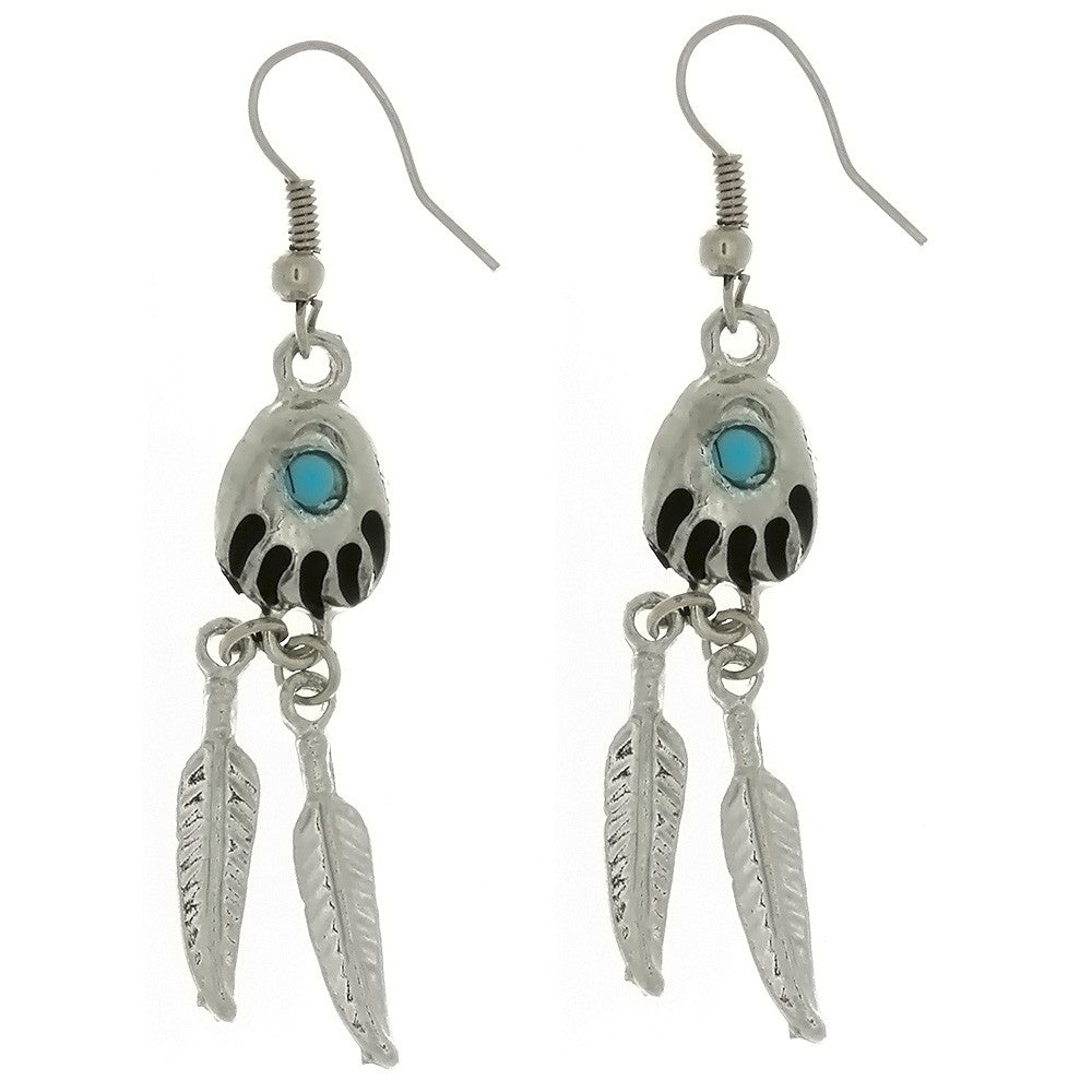 DANGLE BEAR PAW & FEATHER W/ TURQUOISE EARRINGS