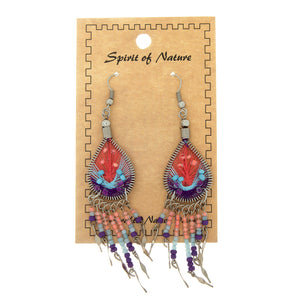 DANGLE THREAD WEAVE & SEED BEAD DREAMCATCHER CORAL EARRINGS