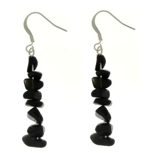 DANGLE CHIP BLACK STONE EARRINGS
