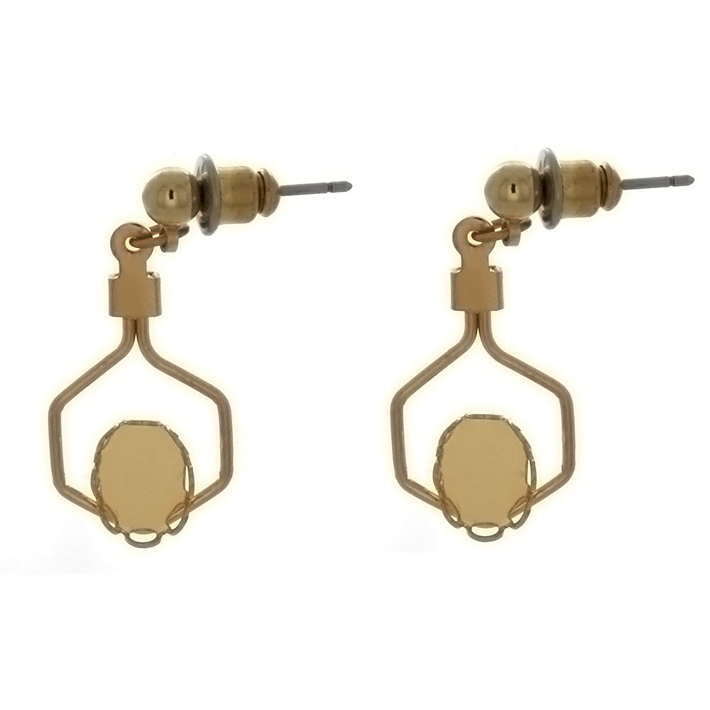 DROP CABOCHON FRAMED WIRE 6 X 8 MM EARRINGS