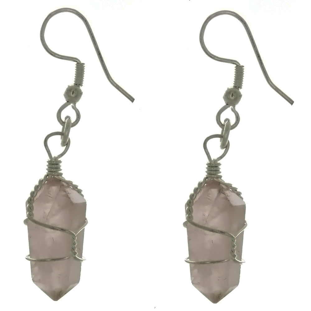 DROP WIRE WRAP ROSE QUARTZ POINT EARRINGS