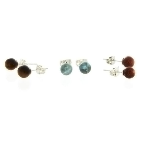 STUD BALL GEMSTONE EARRINGS (3 PAIR)