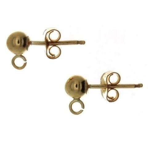 X STUD BALL & LOOP GF EARRINGS