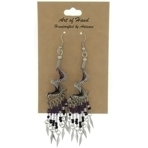 DANGLE THREAD WEAVE & SEED BEAD SPIRAL PURPLE EARRINGS