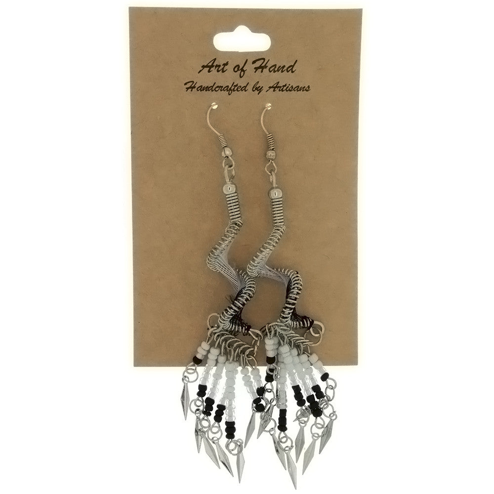 DANGLE THREAD WEAVE & SEED BEAD SPIRAL B & W EARRINGS