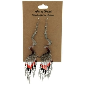 DANGLE THREAD WEAVE & SEED BEAD SPIRAL RED EARRINGS