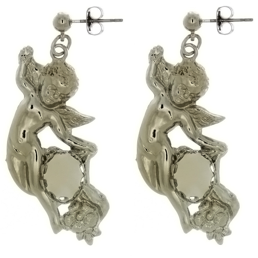 DROP CABOCHON CHERUB 8 X 10 MM EARRINGS