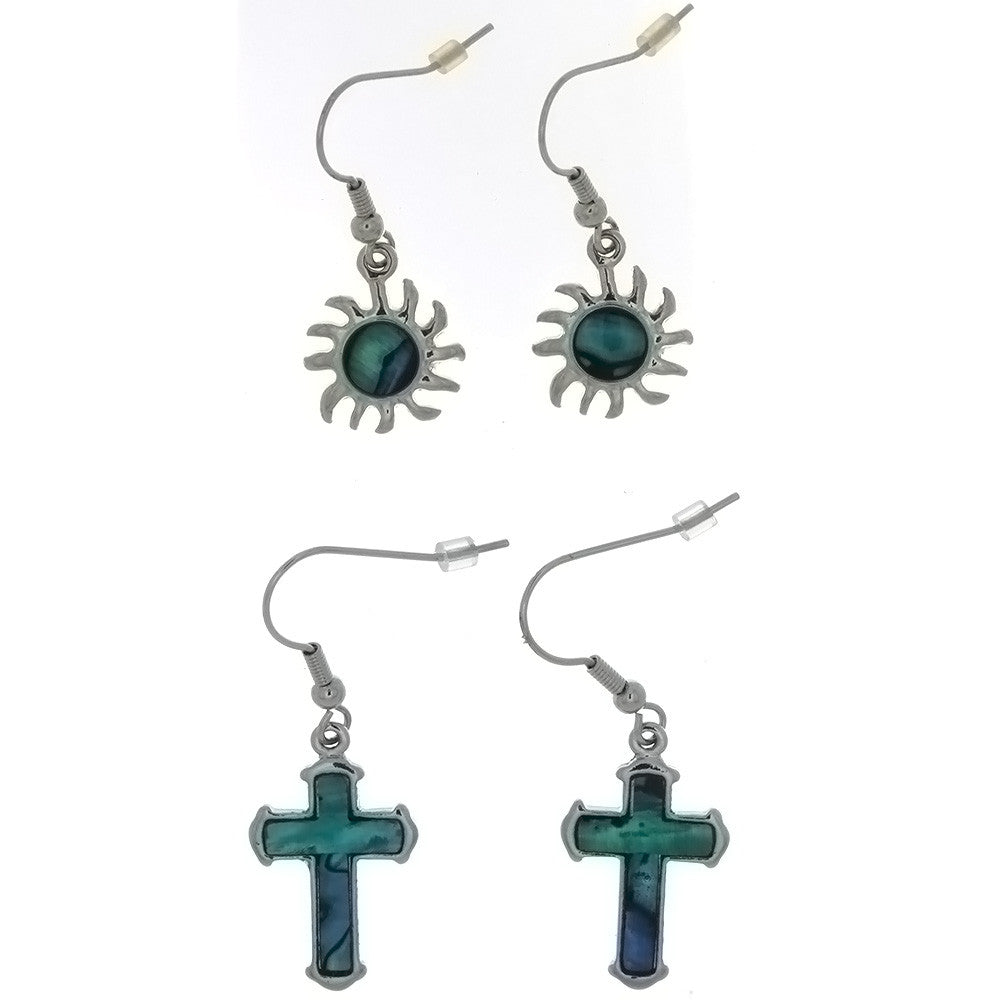 DROP PAUA SHELL DESIGN EARRINGS (6 PR)