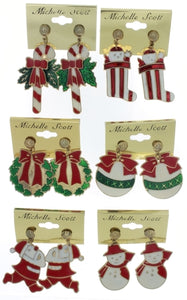 CHRISTMAS EARRINGS ASSORTED NOVELTY (SET OF 6)