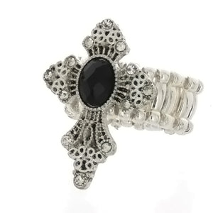 ADJUSTABLE STRETCH RHINESTONE CROSS RING