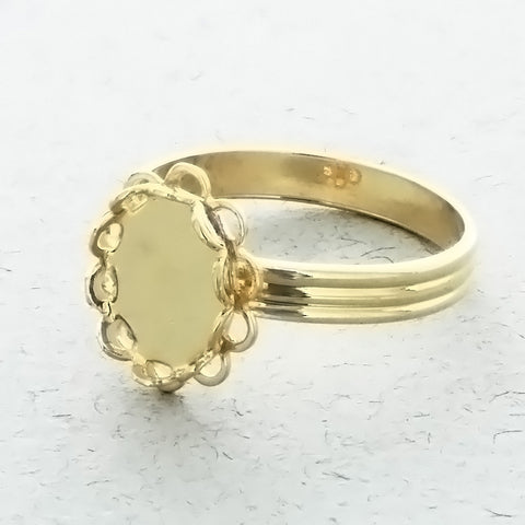 ADJUSTABLE BAND CABOCHON MOUNT 8 X 10 MM RING