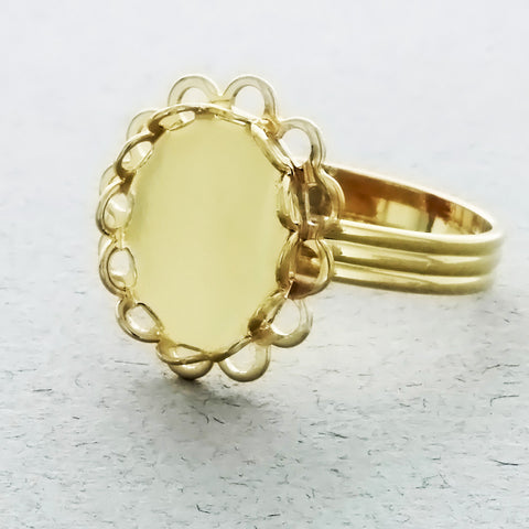 ADJUSTABLE BAND CABOCHON 10 X 12 MM RING