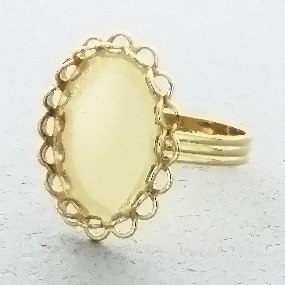 ADJUSTABLE BAND CABOCHON MOUNT 13 X 18 MM RING