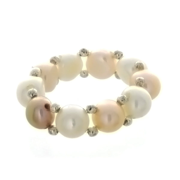 ADJUSTABLE STRETCH FRESHWATER PEARL BUTTON SS RING