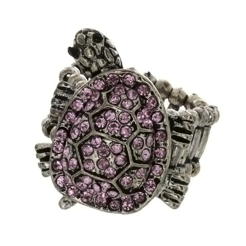 ADJUSTABLE STRETCH RHINESTONE TURTLE RING