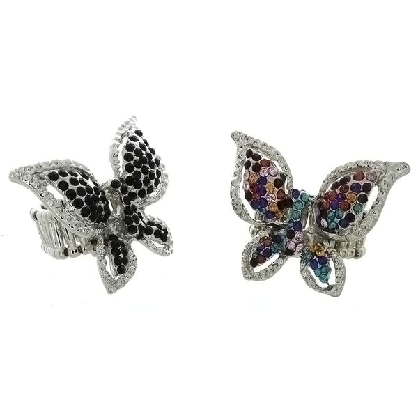 ADJUSTABLE STRETCH RHINESTONE BUTTERFLY RING