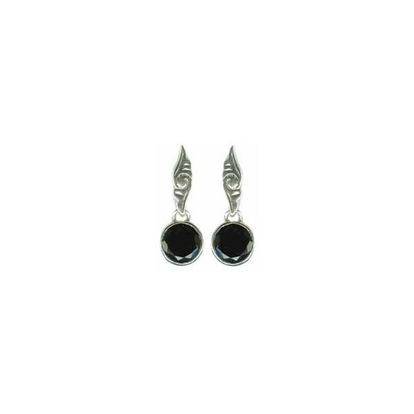Sterling Silver Earrings w/10mm Rd. Fac. Smoky Qtz.