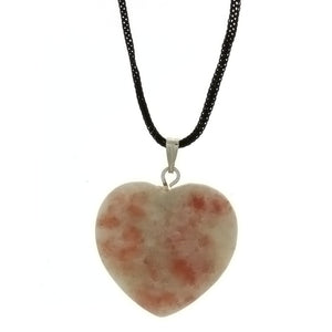 CORDED GEMSTONE SUNSTONE HEART NECKLACE
