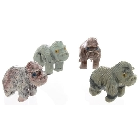 ANIMAL GORILLA SOAPSTONE CARVING (3)