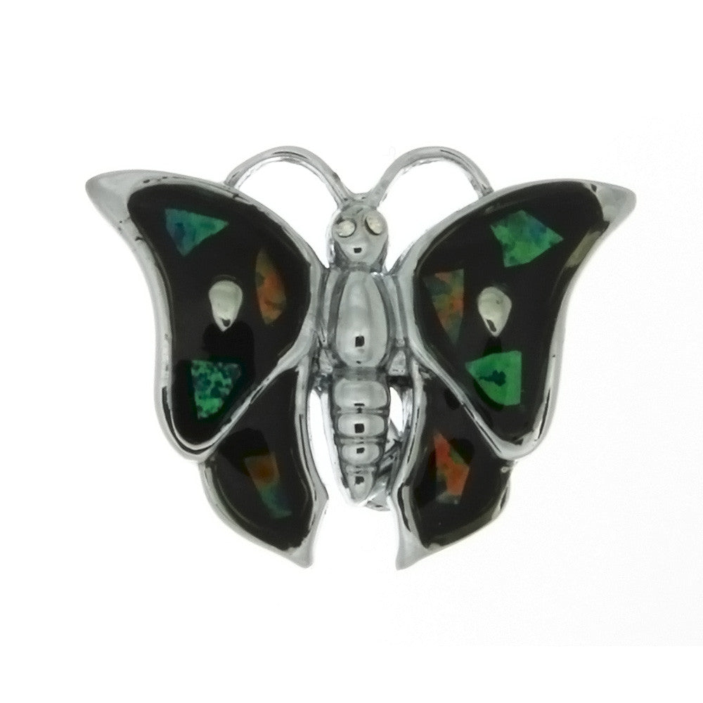 BROOCH GEMSTONE OPAL BUTTERFLY 25 MM FINDING