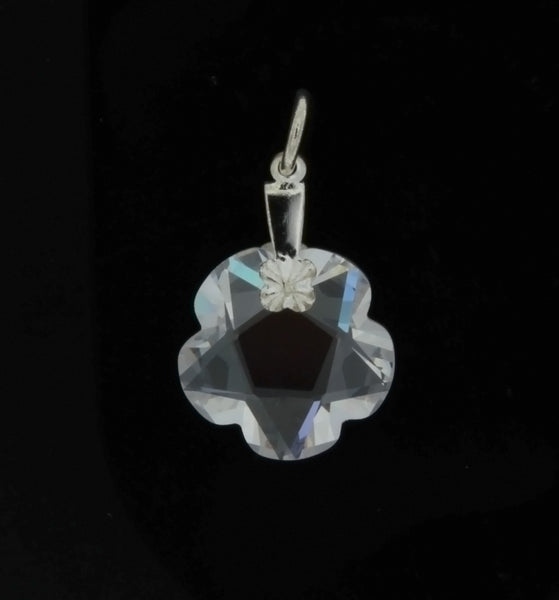 CZ FLOWER CLEAR 15 MM PENDANT