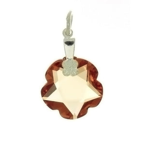 CZ FLOWER ORANGE 15 MM PENDANT