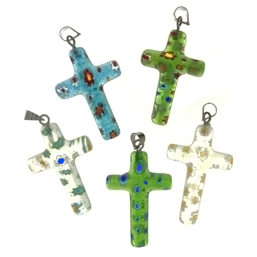 GLASS MILLEFIORI CROSS 19 X 27 MM PENDANT