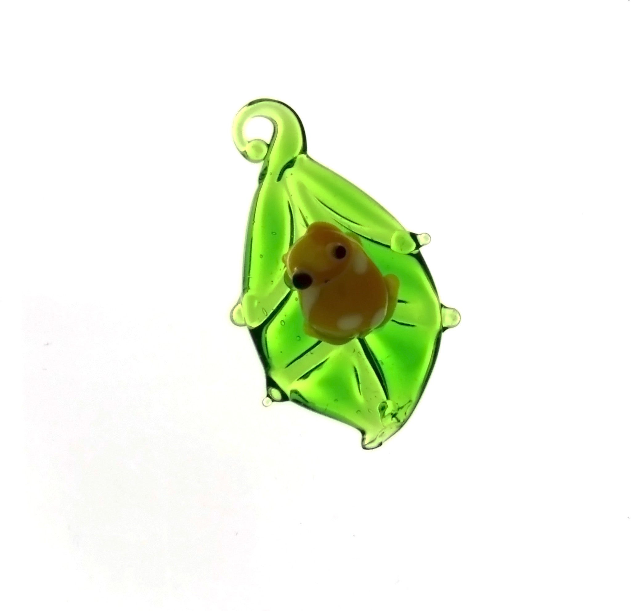 NATURE LEAF W/ FROG GLASS CHARM