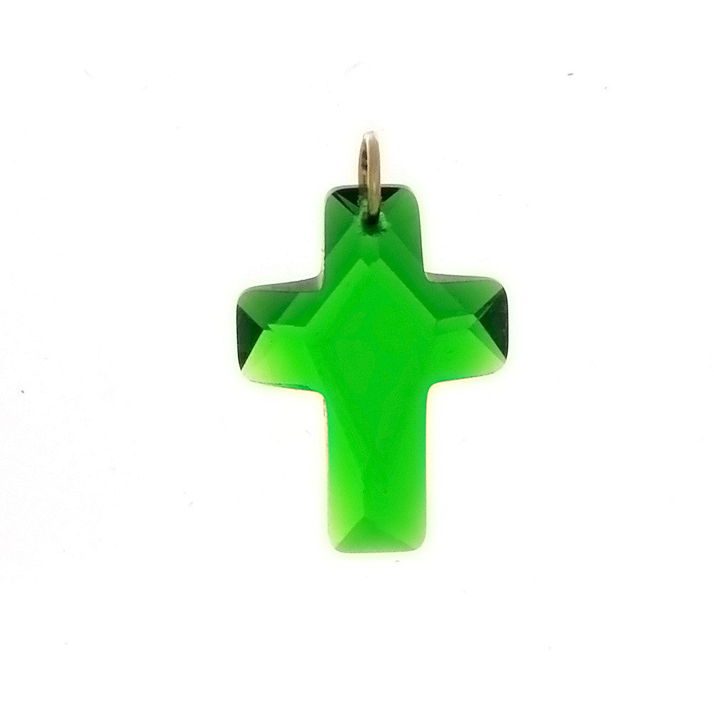 CZ CROSS GREEN 13 X 18 MM PENDANT