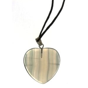 CORDED GEMSTONE FLUORITE HEART NECKLACE