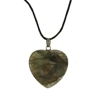 CORDED GEMSTONE LABRADORITE HEART NECKLACE