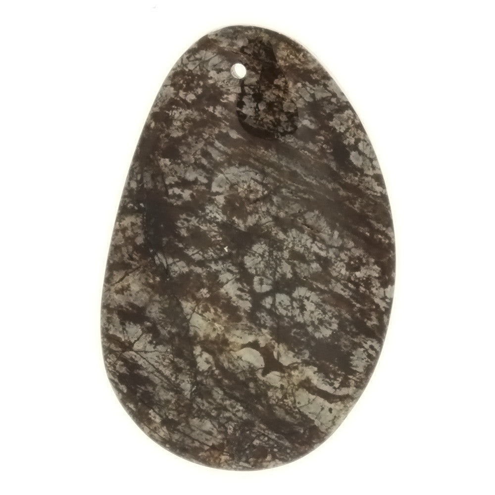 GEMSTONE JASPER BRECCIATED FREEFORM 30 X 50 MM PENDANT