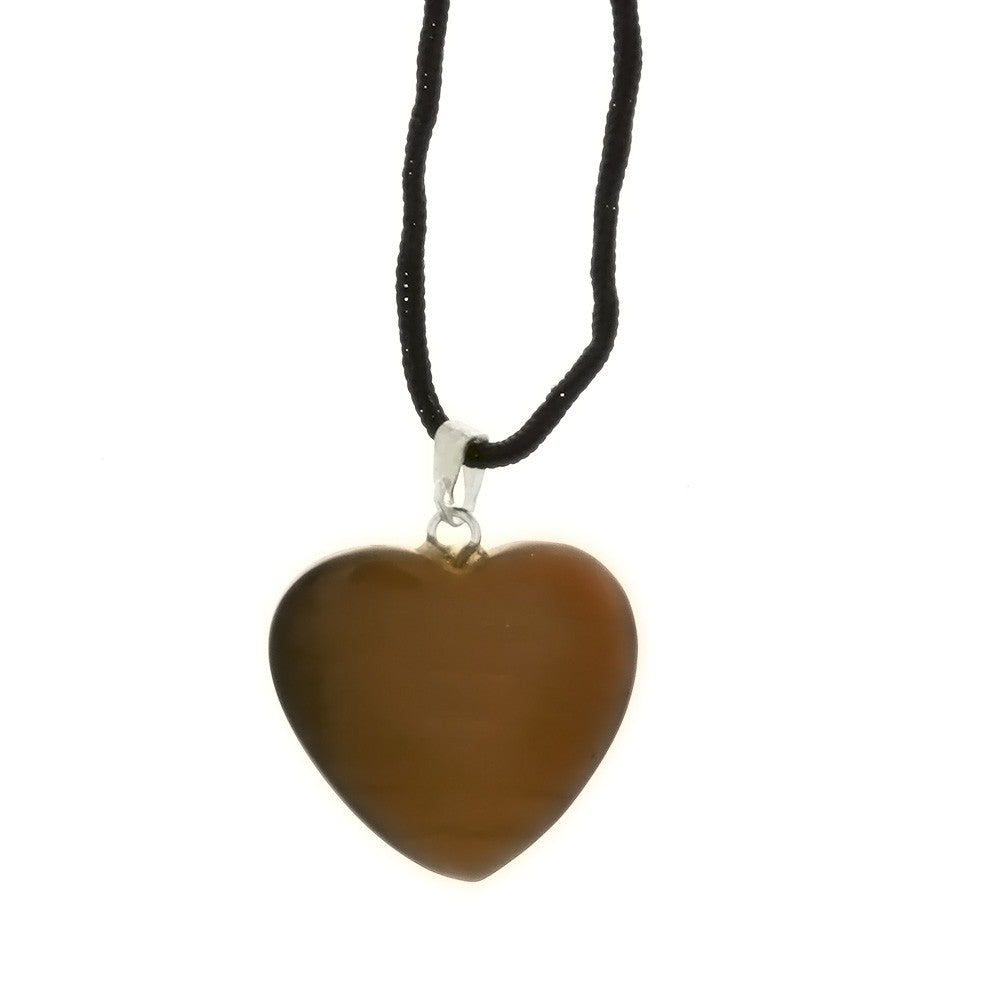 CORDED GEMSTONE TIGER'S EYE HEART NECKLACE
