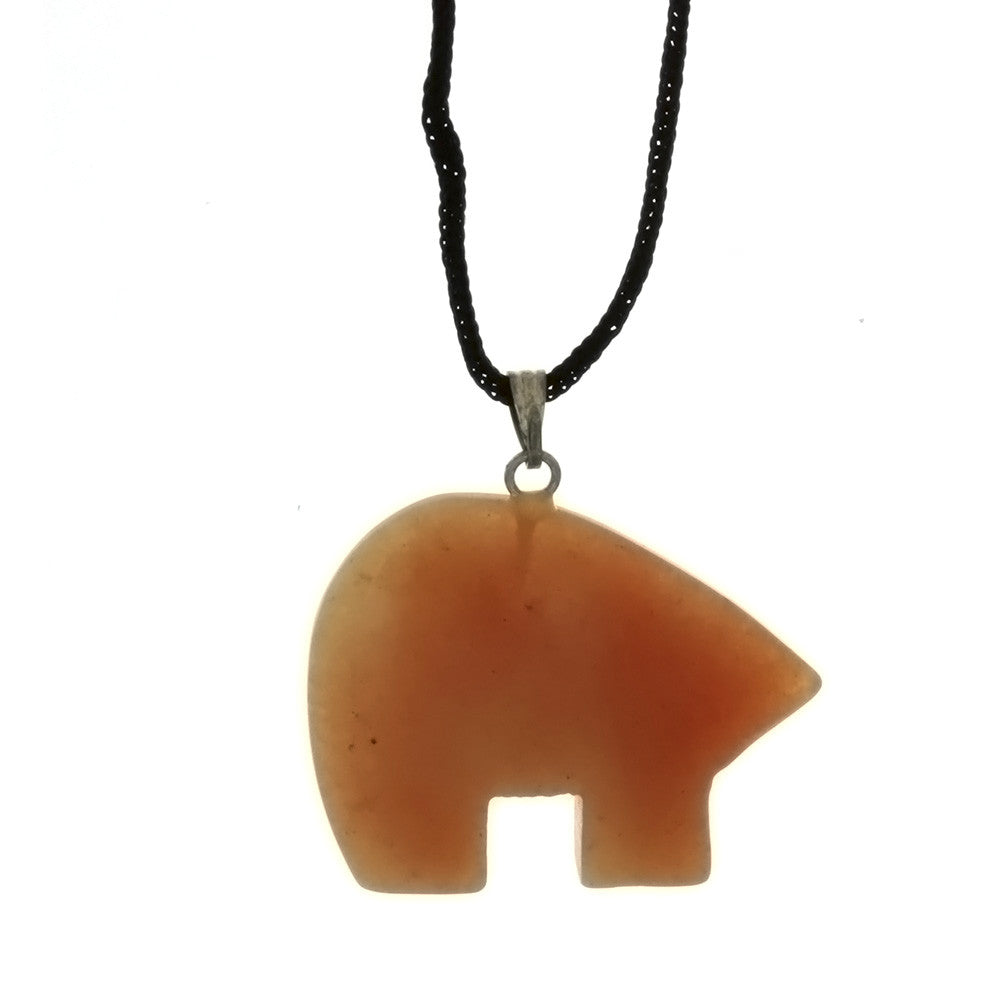 CORDED GEMSTONE VARIOUS BEAR NECKLACE