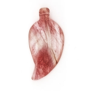 GEMSTONE QUARTZ CHERRY LEAF 18 X 42 MM PENDANT