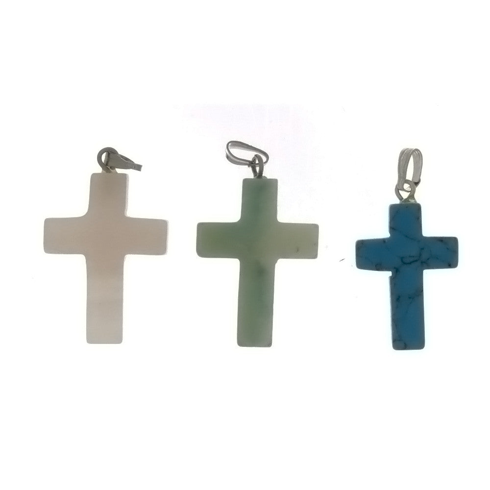 GEMSTONE VARIOUS CROSS PENDANT (6)
