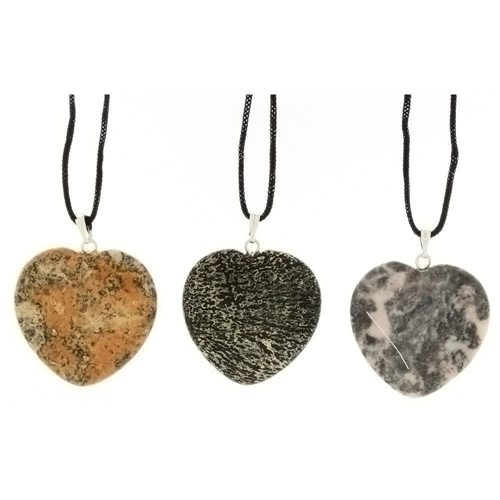 CORDED GEMSTONE VARIOUS HEART NECKLACE (6)
