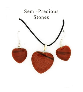 SET CORDED GEMSTONE GOLDSTONE HEART EARRING & NECKLACE