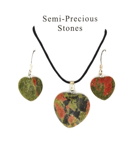 SET CORDED GEMSTONE UNAKITE HEART EARRING & NECKLACE