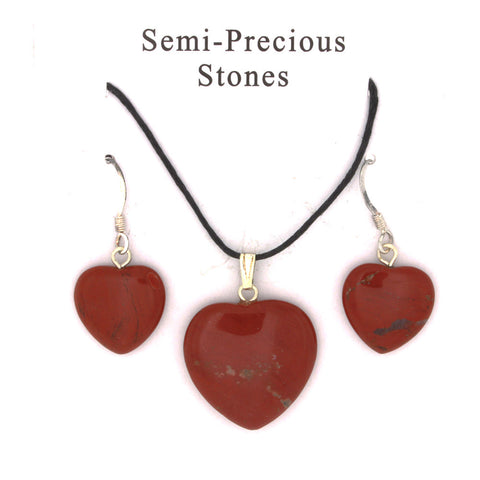 SET CORDED GEMSTONE RED JASPER HEART EARRING & NECKLACE